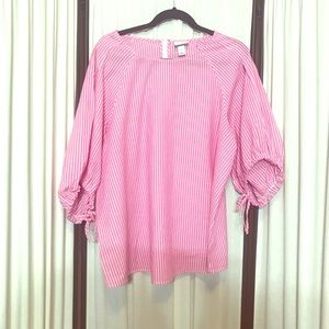 Ava & Viv Pink And White Striped Tunic 1x